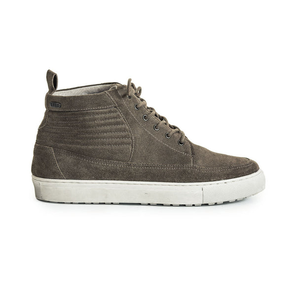 Mens-Sneaker-Lace-up-Suede-Grey-Front-View