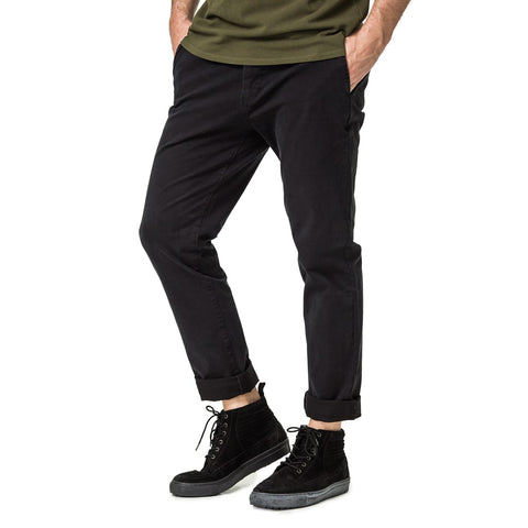 Mens-Chino-Stovepipe-Cotton-Twill-Pants-Black-Front-View