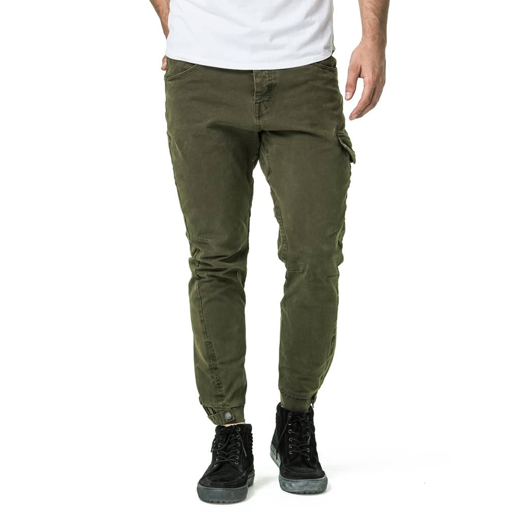 Mens-Jogger-Chino-Fatigue-Olive-Front-View