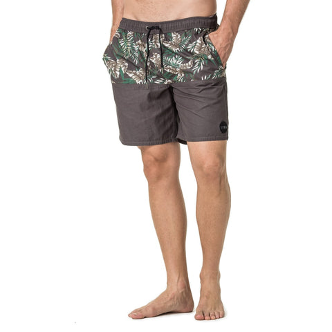 Mens-Baggies-Swim-Shorts-Charcoal-Floral-Front-View