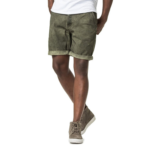 Mens-Chino-Twill-Dirty-Dye-Short-Olive-Front-View