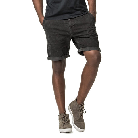 Mens-Chino-Twill-Dirty-Dye-Short-Black-Front-View