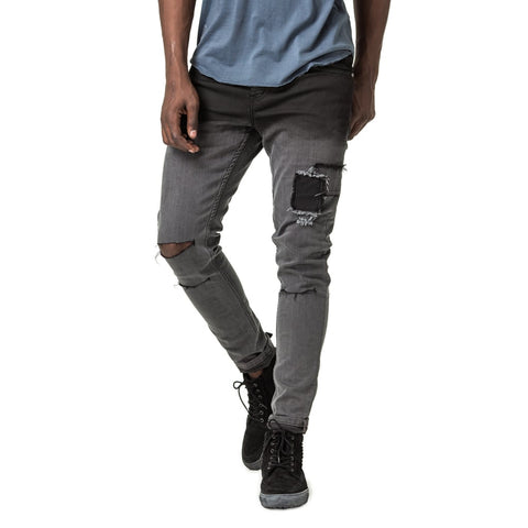 Mens-Denim-Jeans-Dip-Dye-Black-Trench-Skinny-Front-View
