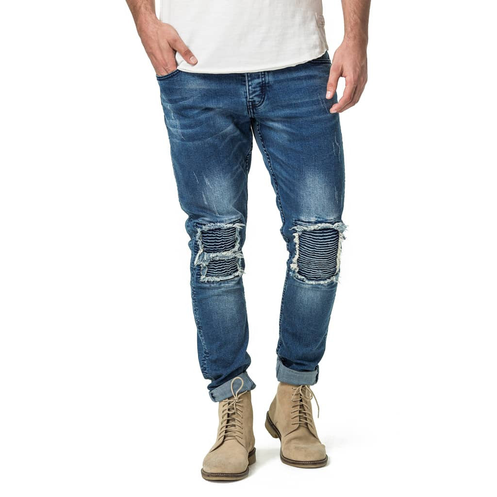 Mens-Denim-Jeans-Blue-Ripped-Front-View