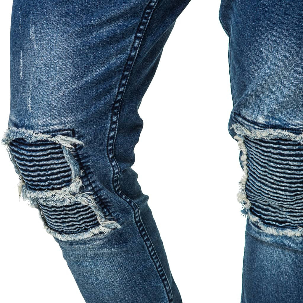 Mens-Denim-Jeans-Blue-Ripped-Detail