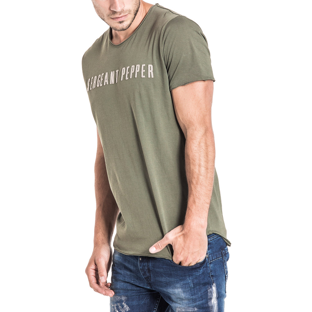 Shop Sergeant Pepper Applique Tee - Olive for R 399.95 | T-Shirts | A/W 18, May 18, Men, New In-W18, T-Shirts | S.P.C.C | Sergeant Pepper Clothing Co