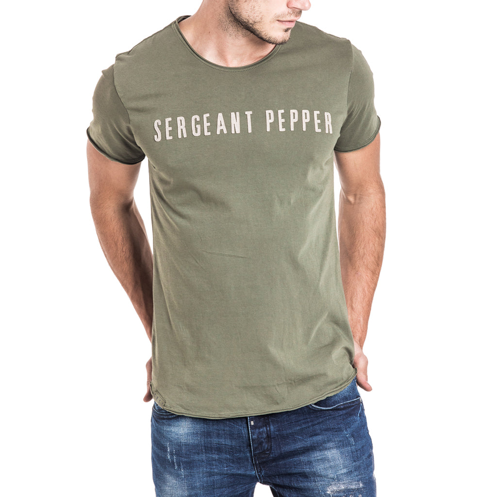 Shop Sergeant Pepper Applique Tee - Olive for R 399.95 | T-Shirts | A/W 18, Green, May 18, Men, New In-W18, T-Shirts, Tees, Tops, tshirt, tshirts, W40P | S.P.C.C | Sergeant Pepper Clothing Co