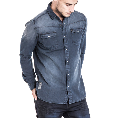 Cannon L/S Denim Shirt - Washed Black