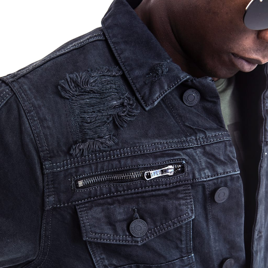 Shop Prospect Denim Jacket for R 1599.95 | Jackets | 40ESS18, Black, Denim, Jackets, July 18, Men, New In - S18, Sale-S18, Tops | S.P.C.C | Sergeant Pepper Clothing Co