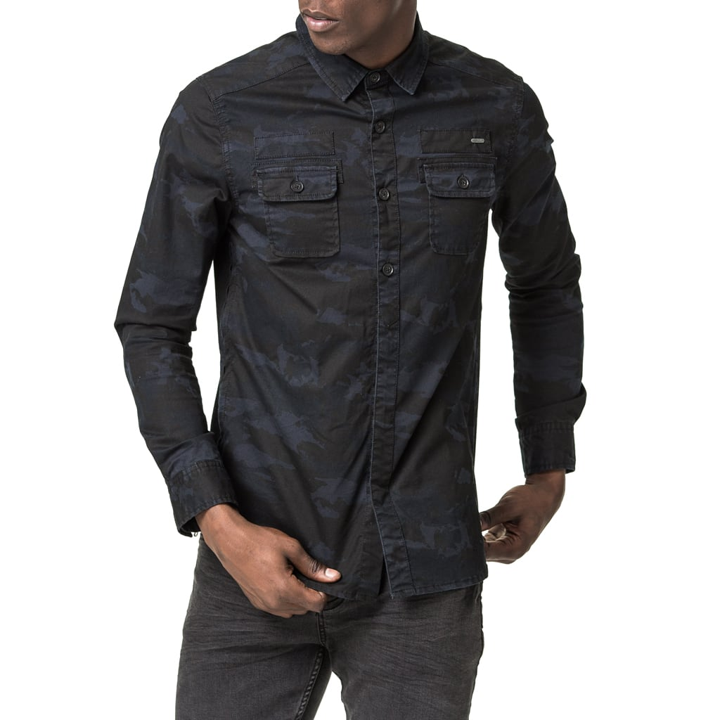 Mens-Shirt-Long-Sleeve-Navy-Camo-Front-View