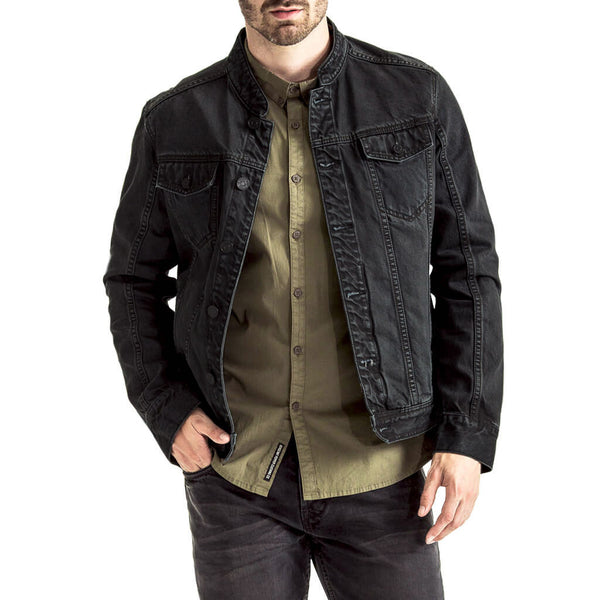 Mens-Denim-Jacket-Black-Front-View