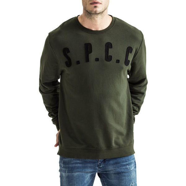 Mens-Sweater-Pullover-Olive-Green-Front-View