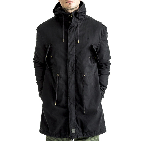 Parka-Jacket-Hood-Black-Front-View