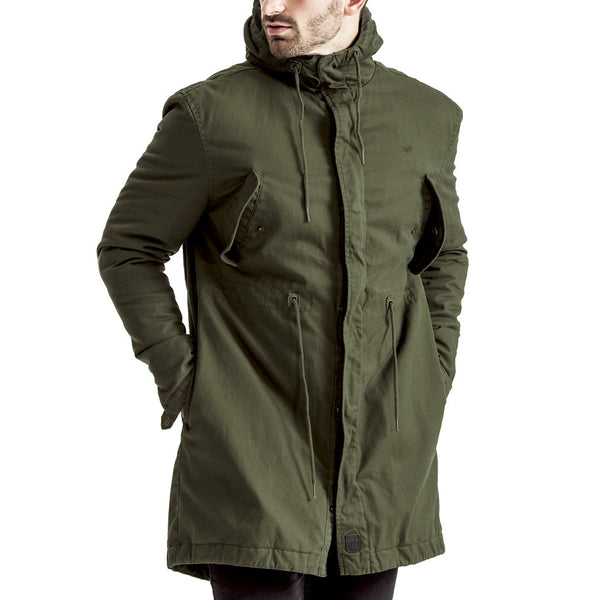Mens-Jacket-Parka-Hooded-Fishtail-Longer-length-Green-Olive-Front-View
