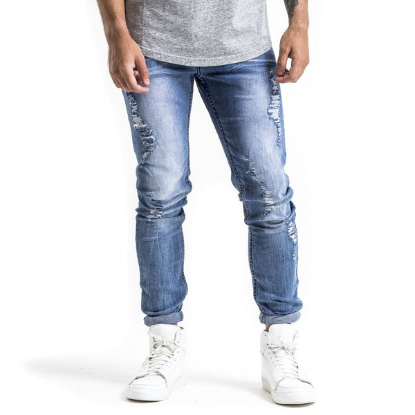 SPCC | Denim | Jean | Slim fit | Blue | Rip detail| Bleach |