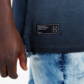 SGT1501 - The Illusion Henley Tee - Ink - Detailed Hem Label
