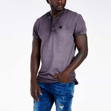 SGT1501 - The Illusion Henley Tee - Wine - Front View