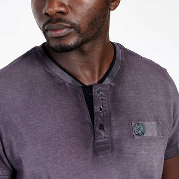 SGT1501 - The Illusion Henley Tee - Wine - Detailed Collar