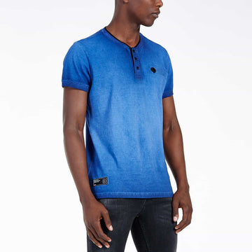 SGT1501 - The Illusion Henley Tee - Sodalite Blue - Side View