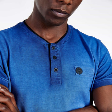 SGT1501 - The Illusion Henley Tee - Sodalite Blue - Detailed Front View