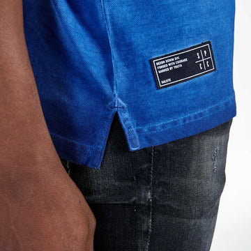 SGT1501 - The Illusion Henley Tee - Sodalite Blue - Detailed Hem Label