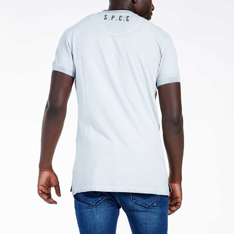 SGT-1501A - The Illusion Henley T-Shirt - Light Grey - Back View