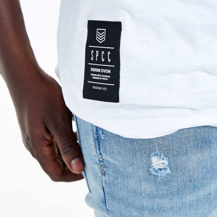 SGT-1504B - The Haven Tee - White - Detailed Hem Label