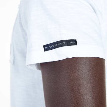 SGT-1504B - The Haven Tee - White - Detailed Sleeve Tab