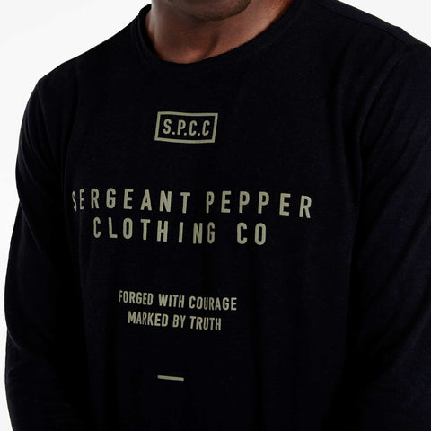 SGT1516 - The Legend Long Sleeve Tee - Black - Detailed Front Print
