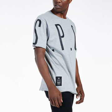 SGT1522A - The Mega Tee - Grey Melange - Side View