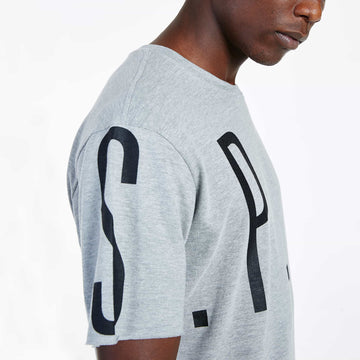 SGT1522A - The Mega Tee - Grey Melange - Detailed Sleeve Print