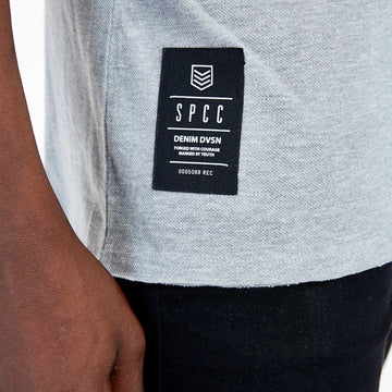 SGT1522A - The Mega Tee - Grey Melange - Detailed Hem Label