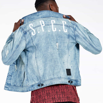 SGT-1583 - The Inca Denim Jacket - Light Blue - Back View