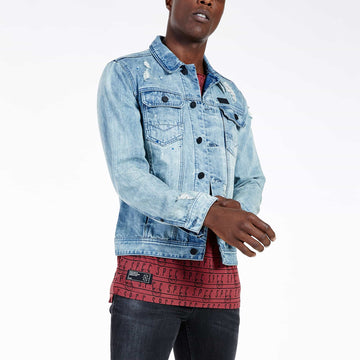 SGT-1583 - The Inca Denim Jacket - Light Blue - Front View