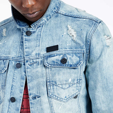 SGT-1583 - The Inca Denim Jacket - Light Blue - Detailed  Front View