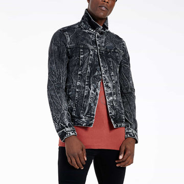 SGT1584 - The Wolf Denim Jacket - Washed Black - Front View