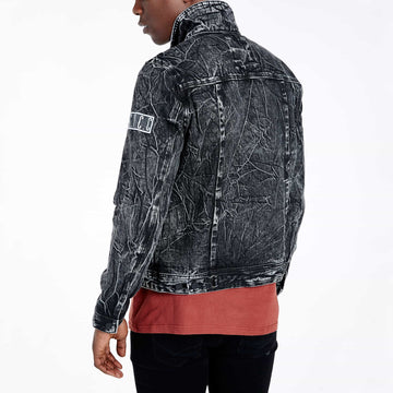 SGT1584 - The Wolf Denim Jacket - Washed Black - Back View