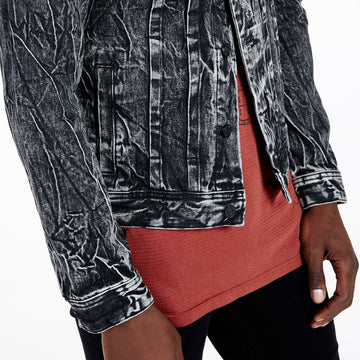 SGT1584 - The Wolf Denim Jacket - Washed Black - Detailed Hem View