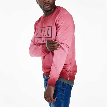 SGT-1599A - The Strip Sweat Shirt - Burnt Red - Side View