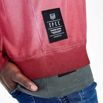 SGT-1599A - The Strip Sweat Shirt - Burnt Red - Detailed Hem Label