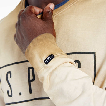 SGT1599C - The Strip Sweat Shirt - Tobacco - Detailed Sleeve Cuff