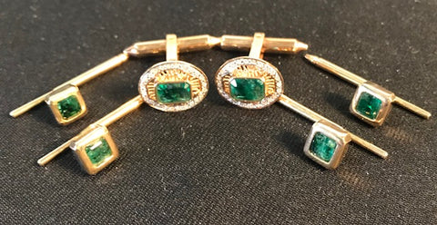 CL 033 Brazilian emeralds set of 2.07cts. each cufflink w/14k. gold and 4 button hole studs.