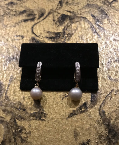 EAR 086 White Freshwater Pearls Earrings 9ct. Gold and diamonds