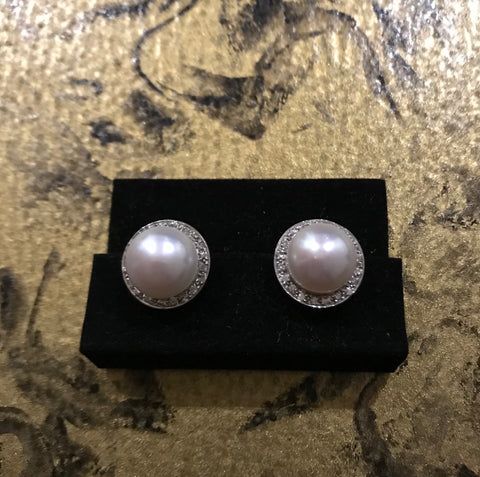 EAR 296 White Freshwater Pearls White Gold 9ct. w/Diamonds