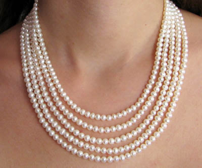 FWP 031 5 rows of white freshwater pearls 6mm necklace 53cm long.