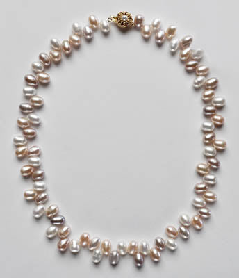 FWP 045 Pearl necklace of drop pearls 9.5mm in natural colour.
