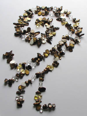 FWP 062 Lariat w/brown mother of pearl and brown freshwater pearls with crystal beads.