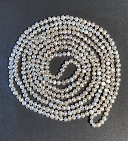 FWP 088 Long continuous 274.32 cm long of 6mm freshwater pearls necklace.
