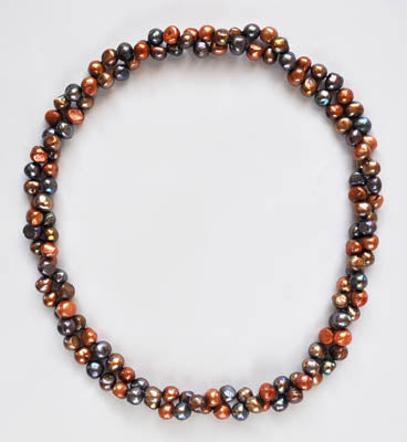 FWP 171 Very long 129 cm long multi coloured freshwater pearl necklace.