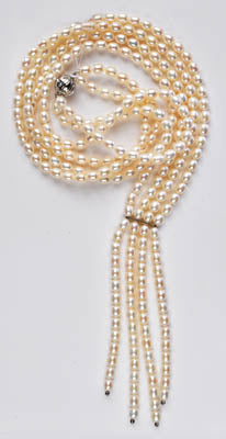 FWP 176 4 strands of white freshwater pearl necklace.